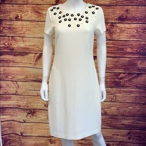 Karl Lagerfeld Paris Cream w Black Beadwork Dress